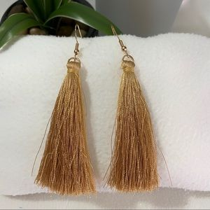 NEW Golden Fringe Tassel Shiny Long Drop Earrings